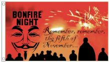Bonfire Night - Remember Remember The 5th of November 5'x3' (150cm x 90cm) Flag